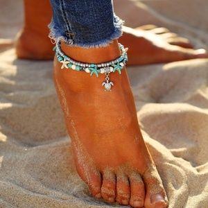 New turtle turquoise boho beaded ankle bracelet